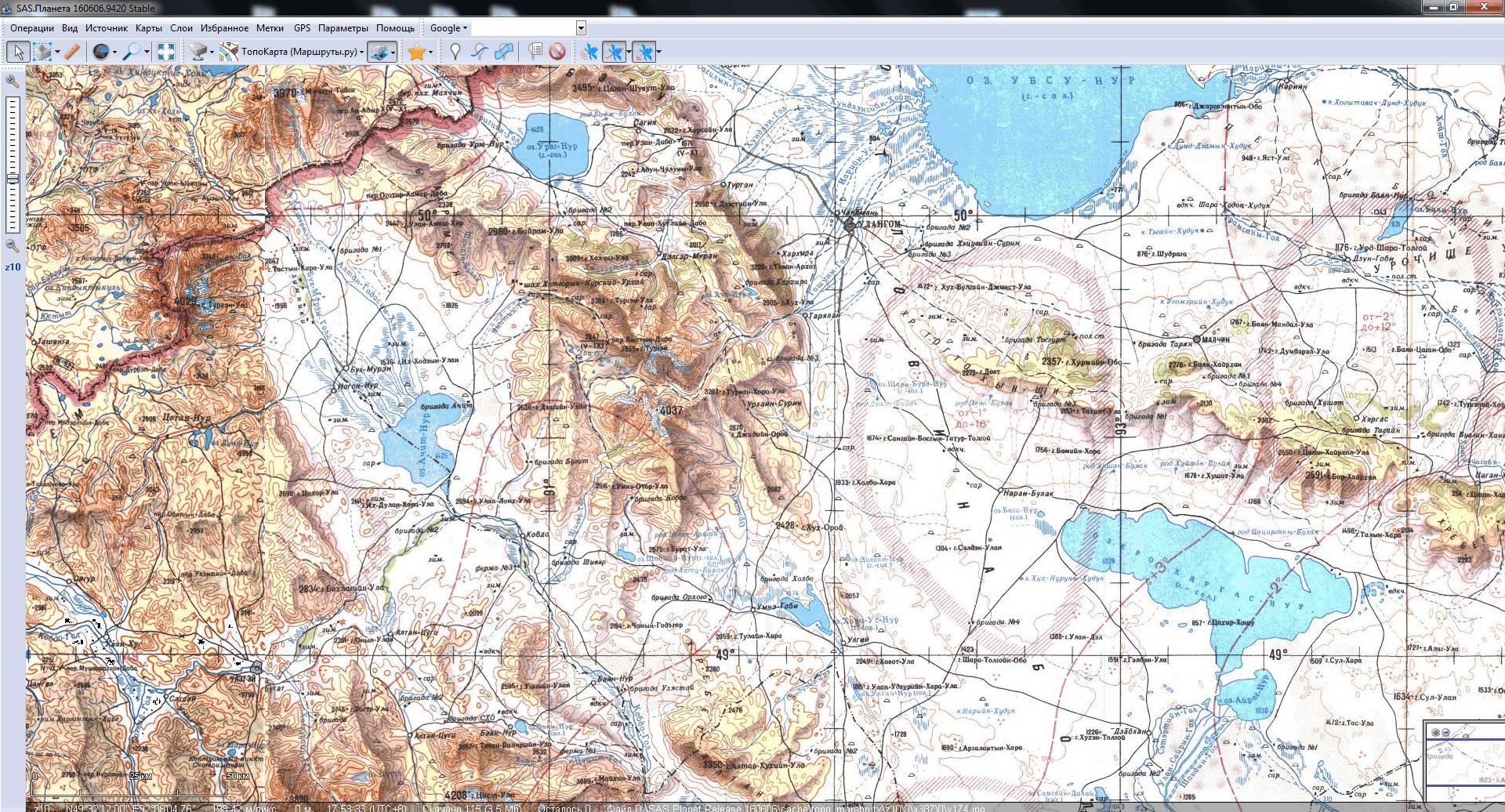 Монголия на генштабовской карте