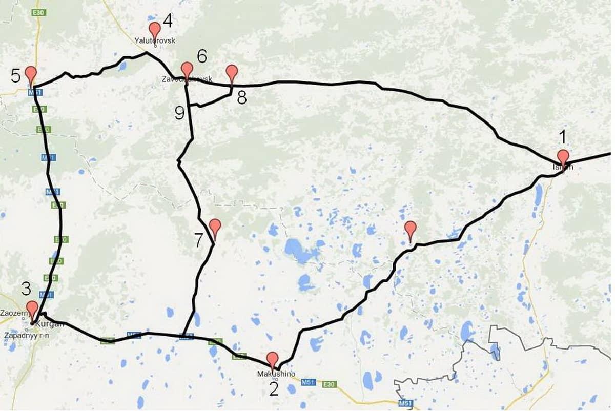 маршрут новосибирск - Омск - Ишим - Курган