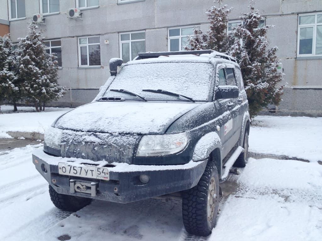 уаз патриот и первый снег