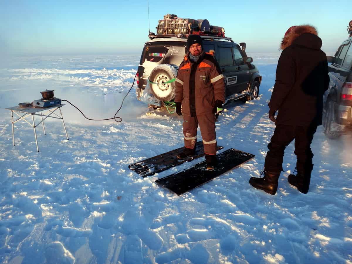 испытание сенд-траков в снегу на севере