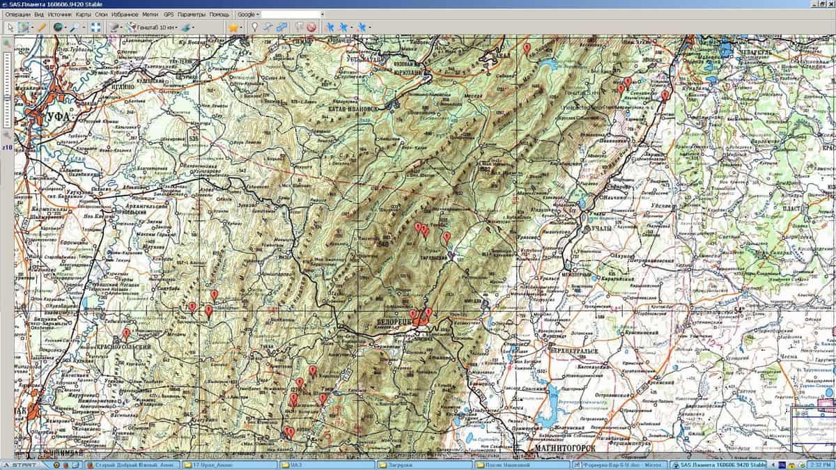 Южный Урал, топография для маршрута
