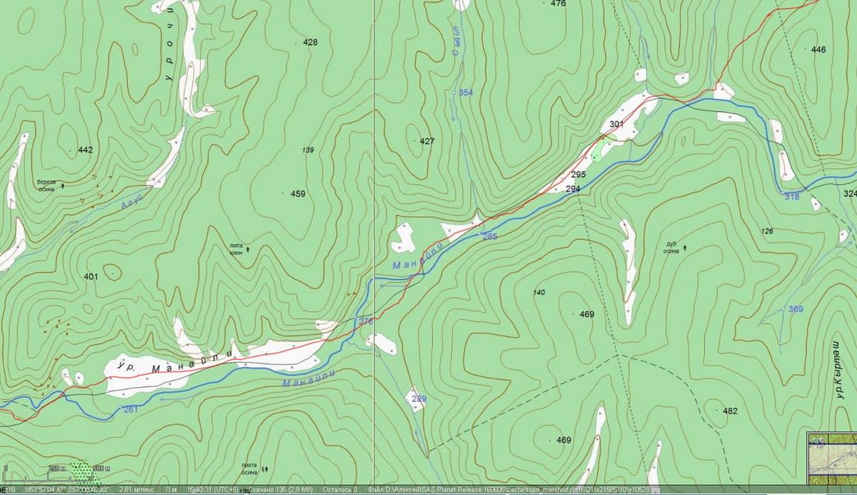 русло реки Манайли на генштабовской карте
