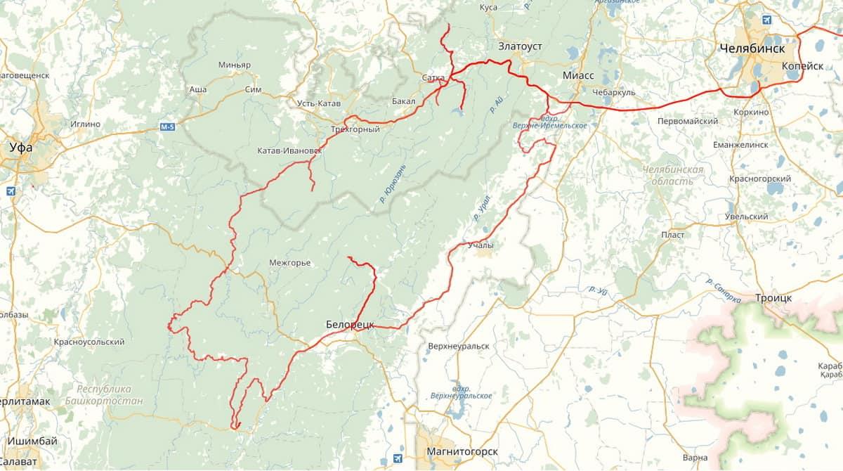 автомобильный маршрут по Южному Уралу