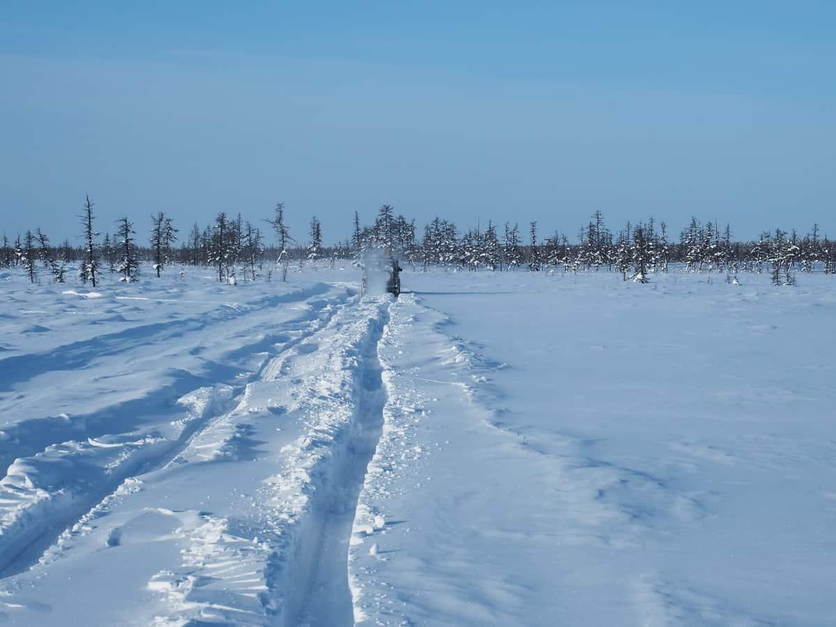 заметенный след до плато Путорана