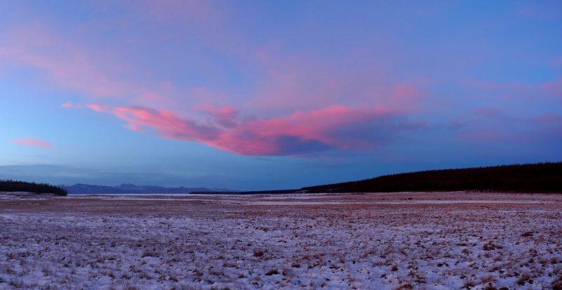 закат на озере Хубсугул нуур зимой, sunset over lake Khovsgol
