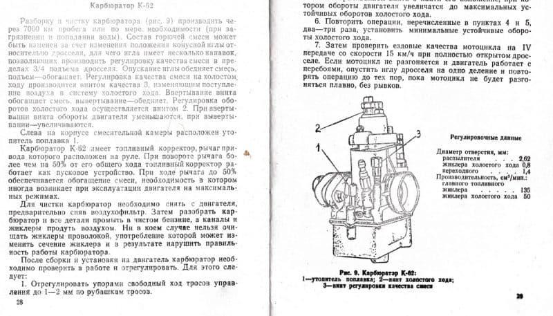 регулировка карбюратора к-62