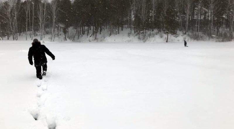прогулка зимой по снегу