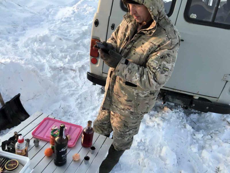 пикник на природе зимой