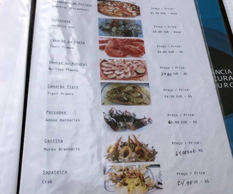 меню Cervejaria Barcabela, Лиссабон