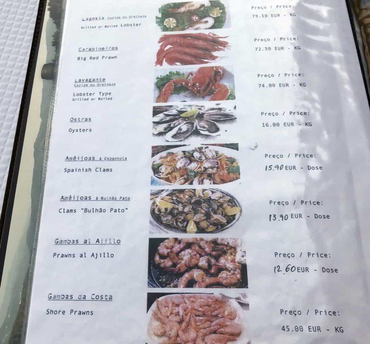 sea food menu Cervejaria Barcabela, Lisboa