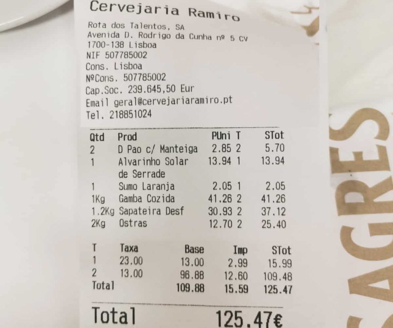 средний чек Cervejaria Ramiro, Лиссабон