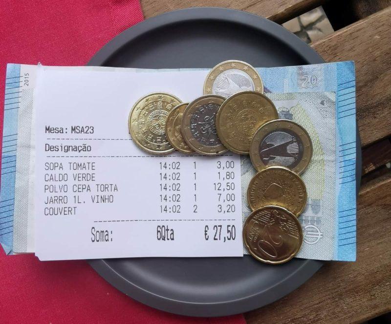 средний чек ресторан в лиссабоне