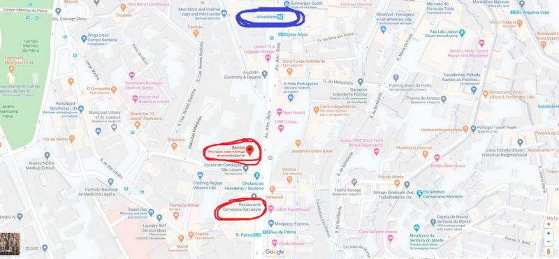 карта, ресторан Ramiro, Лиссабон, Lisboa