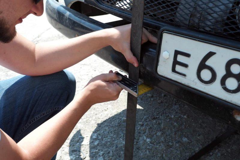 измеряем угол въезда авто уаз