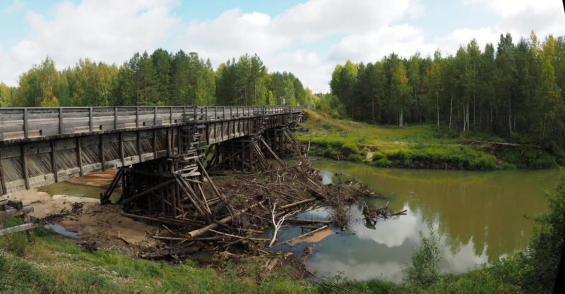 мост через реку в тайге